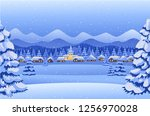 winter night forest landscape... | Shutterstock .eps vector #1256970028