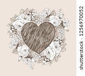 floral vector design frame with ... | Shutterstock .eps vector #1256970052
