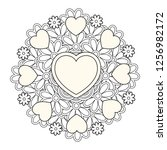 flower mandala with hearts.... | Shutterstock .eps vector #1256982172
