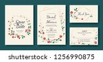 floral wedding invitation  save ... | Shutterstock .eps vector #1256990875