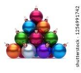 pyramid of christmas balls...   Shutterstock . vector #1256991742
