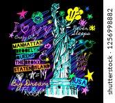 new york  t shirt design ... | Shutterstock .eps vector #1256998882