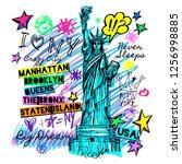 new york  t shirt design ... | Shutterstock .eps vector #1256998885