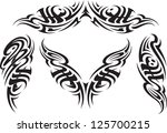 tribal styled tattoo patterns... | Shutterstock . vector #125700215