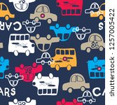 seamless pattern with cars...   Shutterstock .eps vector #1257005422