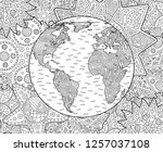 beautiful adult coloring book... | Shutterstock .eps vector #1257037108