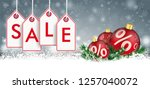Gray christmas card with with price stickers, red baubles and percents. Eps 10 vector file.