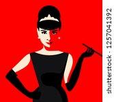 cartoon audrey hepburn. vector... | Shutterstock .eps vector #1257041392