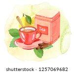 teatime  watercolor... | Shutterstock . vector #1257069682