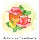 teatime  watercolor... | Shutterstock . vector #1257069685