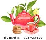teatime  watercolor... | Shutterstock . vector #1257069688