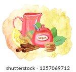 teatime  watercolor... | Shutterstock . vector #1257069712