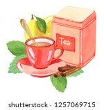 teatime  watercolor... | Shutterstock . vector #1257069715