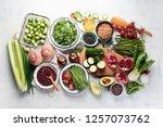 seasonal vegetarian  vegan...   Shutterstock . vector #1257073762