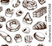 desserts seamless pattern.... | Shutterstock .eps vector #1257141568