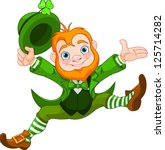 joyful jumping leprechaun. | Shutterstock .eps vector #125714282