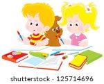 schoolboy and schoolgirl doing... | Shutterstock .eps vector #125714696