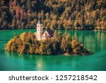 bled lake sunset | Shutterstock . vector #1257218542