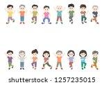 men and women exercising | Shutterstock .eps vector #1257235015