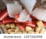 close up fresh fish fillet and... | Shutterstock . vector #1257262048