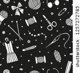 black and white seamless... | Shutterstock .eps vector #1257272785