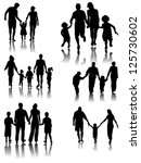 family silhouettes with shadow. ... | Shutterstock .eps vector #125730602