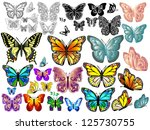 Stock vector set of colorful and white black isolated butterflies vector 125730755