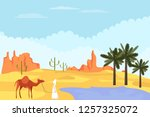 bedouin with a camel is in the... | Shutterstock .eps vector #1257325072