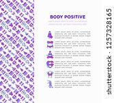body positive concept with thin ... | Shutterstock .eps vector #1257328165