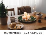 cozy evening tea party by... | Shutterstock . vector #1257334798