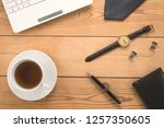 office table with cup of tea  | Shutterstock . vector #1257350605