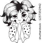 sketch of pretty little girl... | Shutterstock .eps vector #1257352942