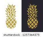 golden glitter pineapple. vector | Shutterstock .eps vector #1257364375