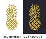 golden glitter pineapple. vector | Shutterstock .eps vector #1257364375