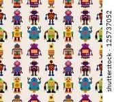 seamless robot pattern cartoon... | Shutterstock .eps vector #125737052