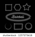 lace from a baseball on a black ... | Shutterstock .eps vector #1257373618