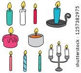 vector set of candle | Shutterstock .eps vector #1257382975