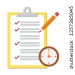 notepad checklist  complete... | Shutterstock .eps vector #1257385045