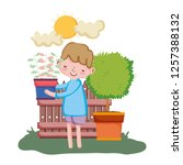 little boy lifting houseplant... | Shutterstock .eps vector #1257388132