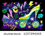 wow rollers skates girls trendy ... | Shutterstock .eps vector #1257394345
