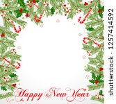 christmas frame with holly... | Shutterstock .eps vector #1257414592