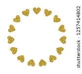 heart frame. cute golden... | Shutterstock .eps vector #1257414802