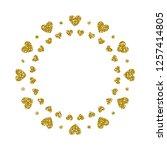 heart frame. cute golden... | Shutterstock .eps vector #1257414805