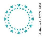 heart frame. cute turquoise... | Shutterstock .eps vector #1257414808