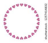 heart frame. cute pink glitter. ... | Shutterstock .eps vector #1257414832