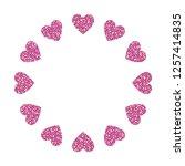 heart frame. cute pink glitter. ... | Shutterstock .eps vector #1257414835