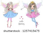 two hand drawn beautiful cute... | Shutterstock .eps vector #1257415675