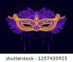 gold mask with crystal and... | Shutterstock .eps vector #1257435925
