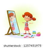 cute little girl looking in the ...   Shutterstock .eps vector #1257451975