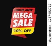 mega sale banner offer 10  off. ... | Shutterstock .eps vector #1257453712